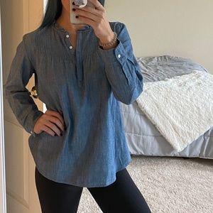 J. CREW MERCANTILE | Heather blue ruffle blouse